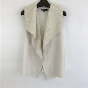 Absolutely Famous Jackets & Coats - ABSOLUTELY FAMOUS Cream Faux-Lambskin Vest